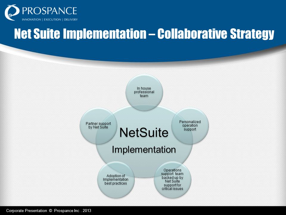 NetSuite Implementation In house professional team Personalized operation support Operations support team backed up by Net Suite support for critical