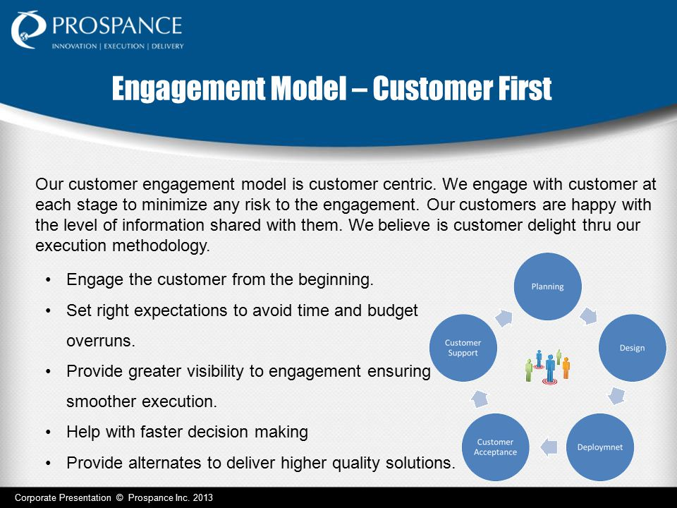 Engagement Model – Customer First Corporate Presentation © Prospance Inc. 2013 Engage the customer from the beginning. Set right expectations to avoid