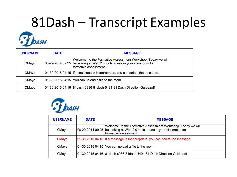 81Dash – Transcript Examples