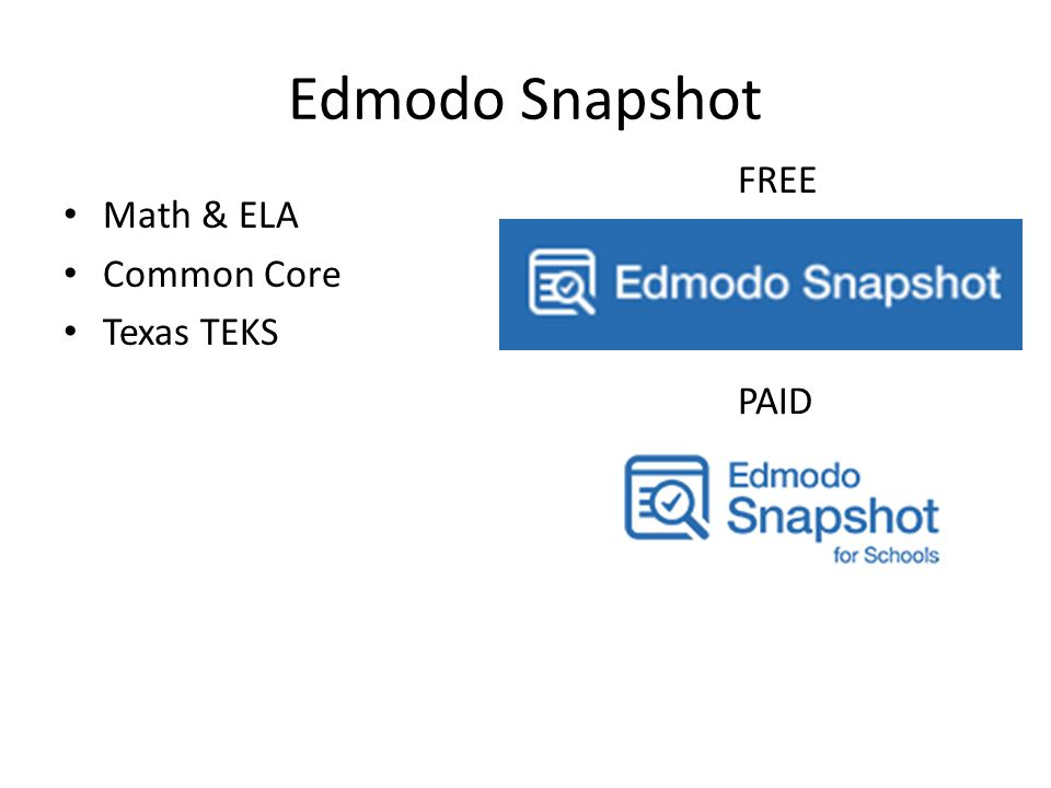 Edmodo Snapshot Math & ELA Common Core Texas TEKS FREE PAID