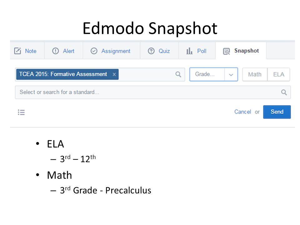 Edmodo Snapshot ELA – 3 rd – 12 th Math – 3 rd Grade - Precalculus