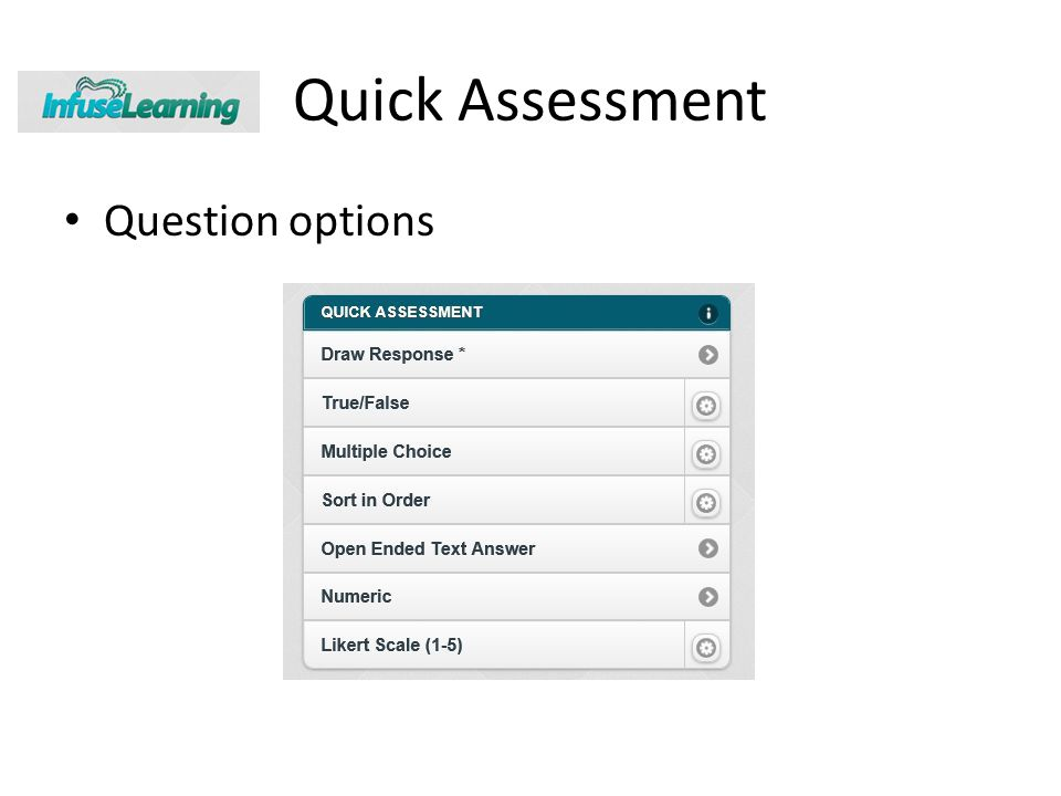 Quick Assessment Question options