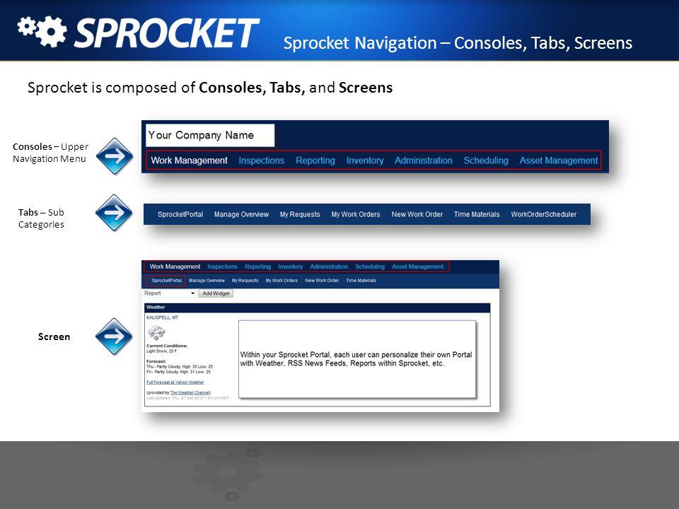 Sprocket Navigation – Consoles, Tabs, Screens Sprocket is composed of Consoles, Tabs, and Screens Consoles – Upper Navigation Menu Tabs – Sub Categori