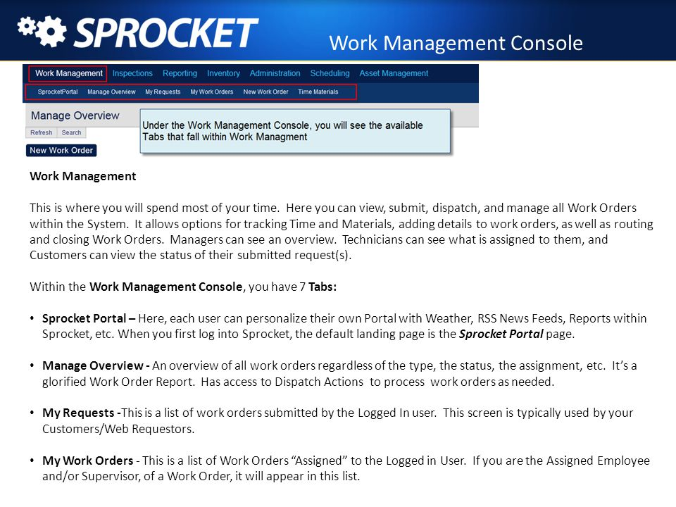 Work Management – New Work Order Screen New Work Order Screen – This is where you submit any type of work order.