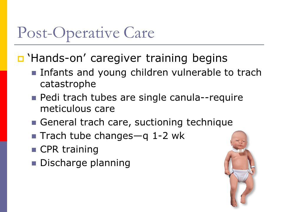Post-Operative Care  'Hands-on' caregiver training begins Infants and young children vulnerable to trach catastrophe Pedi trach tubes are single canu