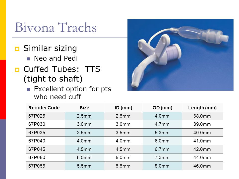 Bivona Trachs  Similar sizing Neo and Pedi  Cuffed Tubes: TTS (tight to shaft) Excellent option for pts who need cuff Reorder CodeSizeID (mm)OD (mm)