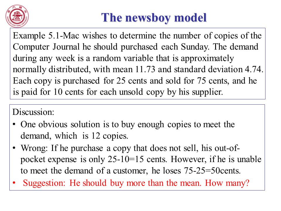 The newsboy model Example 5.1-Mac wishes to determine the number of copies of the Computer Journal he should purchased each Sunday. The demand during