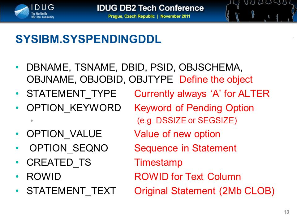 Click to edit Master title style 13 SYSIBM.SYSPENDINGDDL DBNAME, TSNAME, DBID, PSID, OBJSCHEMA, OBJNAME, OBJOBID, OBJTYPE Define the object STATEMENT_TYPE Currently always 'A' for ALTER OPTION_KEYWORD Keyword of Pending Option (e.g.
