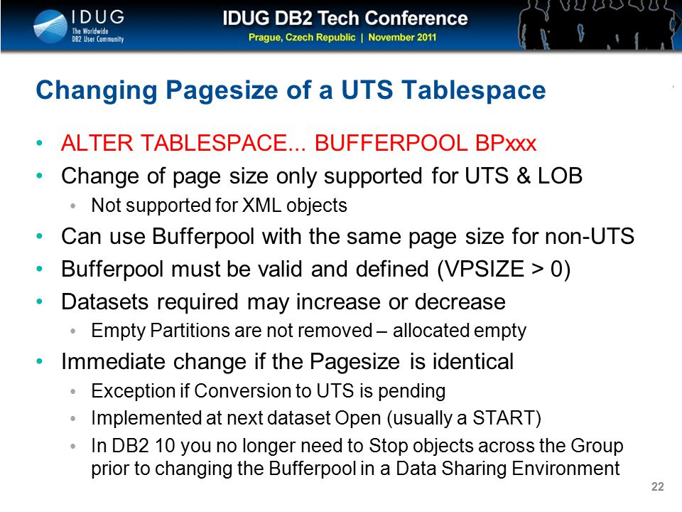 Click to edit Master title style 22 Changing Pagesize of a UTS Tablespace ALTER TABLESPACE...