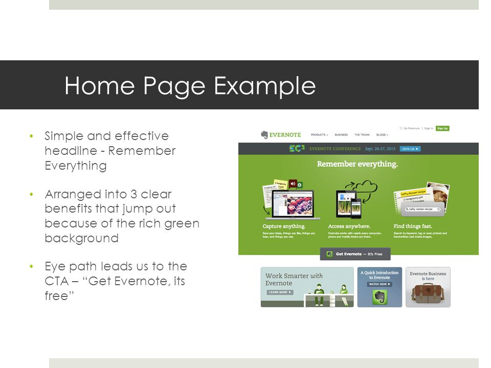 Home Page Example Simple and effective headline - Remember Everything Arranged into 3 clear benefits that jump out because of the rich green backgroun