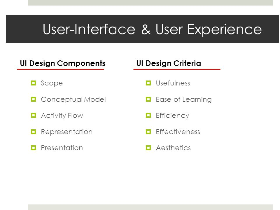 User-Interface & User Experience  Scope  Conceptual Model  Activity Flow  Representation  Presentation  Usefulness  Ease of Learning  Efficien