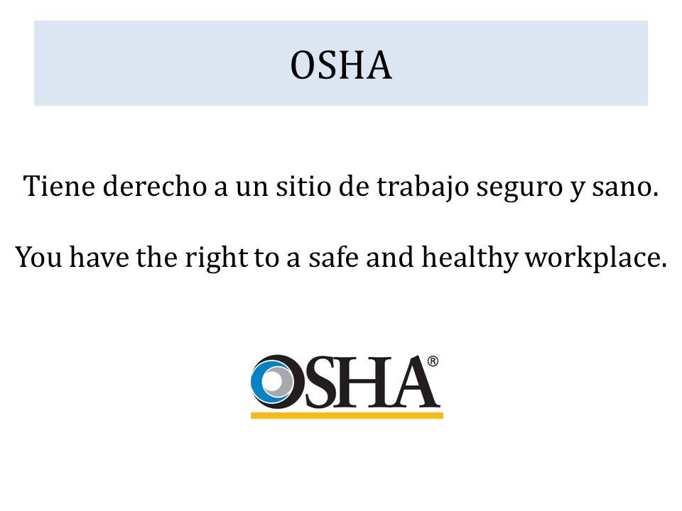 OSHA Tiene derecho a un sitio de trabajo seguro y sano. You have the right to a safe and healthy workplace.