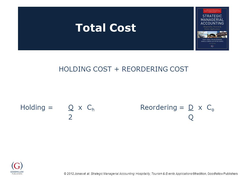 © 2012 Jones et al: Strategic Managerial Accounting: Hospitality, Tourism & Events Applications 6thedition, Goodfellow Publishers Total Cost HOLDING COST + REORDERING COST Holding = Q x C h Reordering = D x C o 2Q