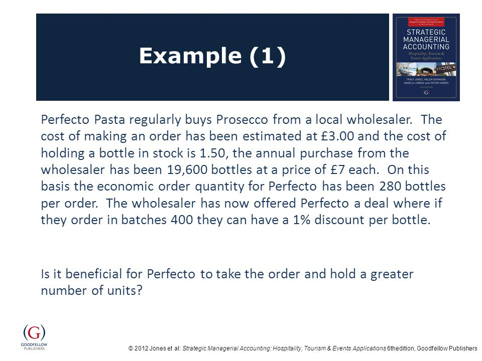 © 2012 Jones et al: Strategic Managerial Accounting: Hospitality, Tourism & Events Applications 6thedition, Goodfellow Publishers Example (1) Perfecto Pasta regularly buys Prosecco from a local wholesaler.
