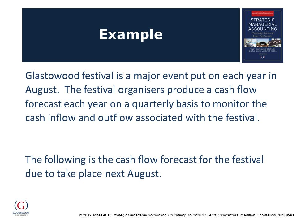 © 2012 Jones et al: Strategic Managerial Accounting: Hospitality, Tourism & Events Applications 6thedition, Goodfellow Publishers Example Glastowood festival is a major event put on each year in August.