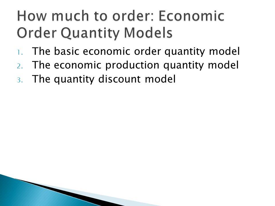 1.The basic economic order quantity model 2. The economic production quantity model 3.