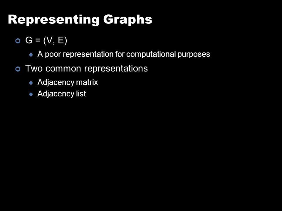 Representing Graphs G = (V, E) A poor representation for computational purposes Two common representations Adjacency matrix Adjacency list