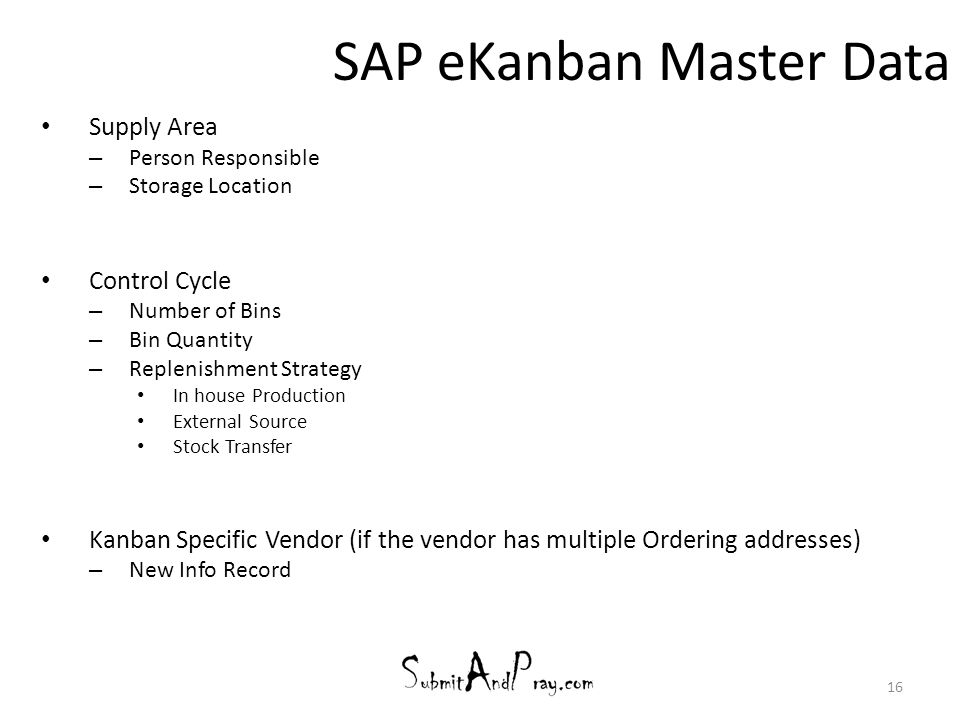 SAP eKanban Master Data Supply Area – Person Responsible – Storage Location Control Cycle – Number of Bins – Bin Quantity – Replenishment Strategy In