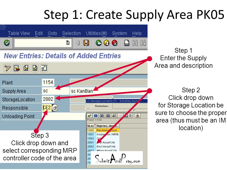 Step 1: Create Supply Area PK05 20 Step 1 Enter the Supply Area and description Step 2 Click drop down for Storage Location be sure to choose the prop