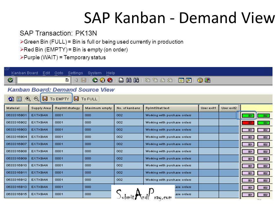 SAP Kanban - Demand View 40 SAP Transaction: PK13N  Green Bin (FULL) = Bin is full or being used currently in production  Red Bin (EMPTY) = Bin is e