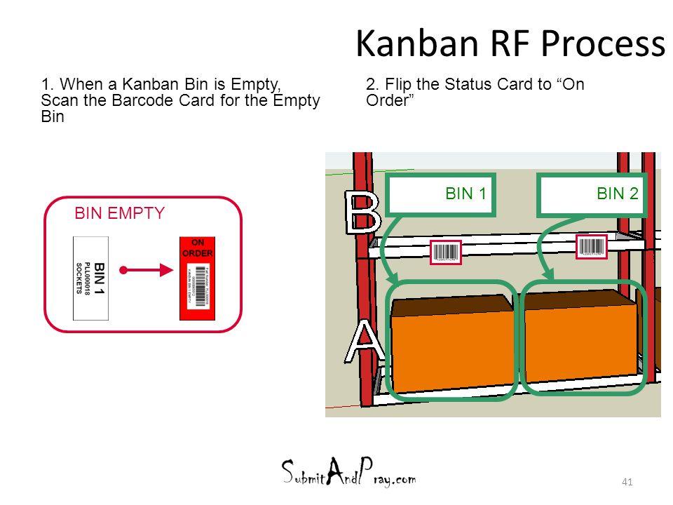 "Kanban RF Process 41 1. When a Kanban Bin is Empty, Scan the Barcode Card for the Empty Bin 2. Flip the Status Card to ""On Order"" BIN EMPTY BIN 2 BIN"