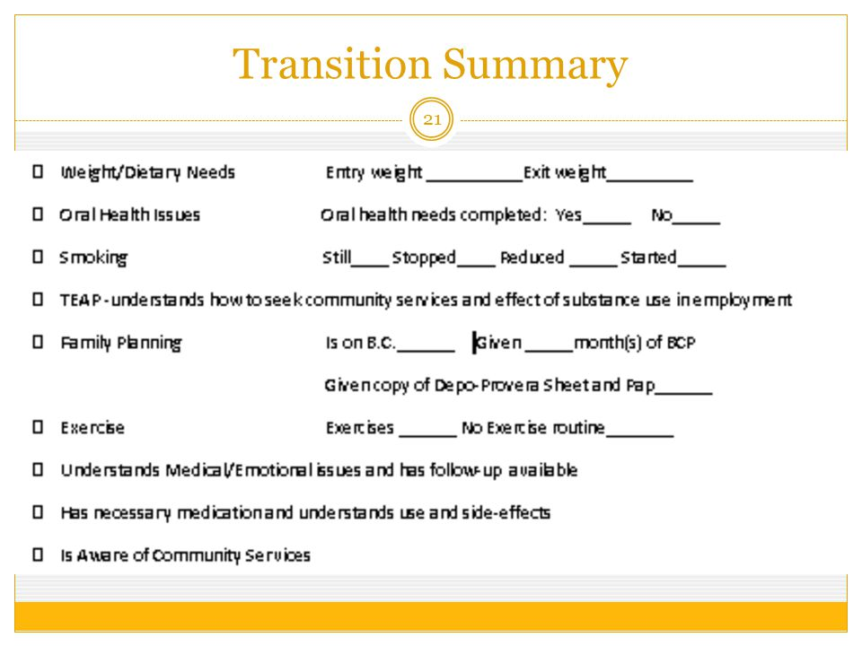 Transition Summary 21