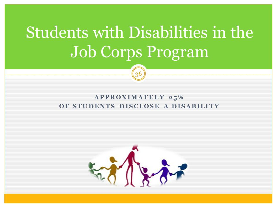 APPROXIMATELY 25% OF STUDENTS DISCLOSE A DISABILITY 36 Students with Disabilities in the Job Corps Program