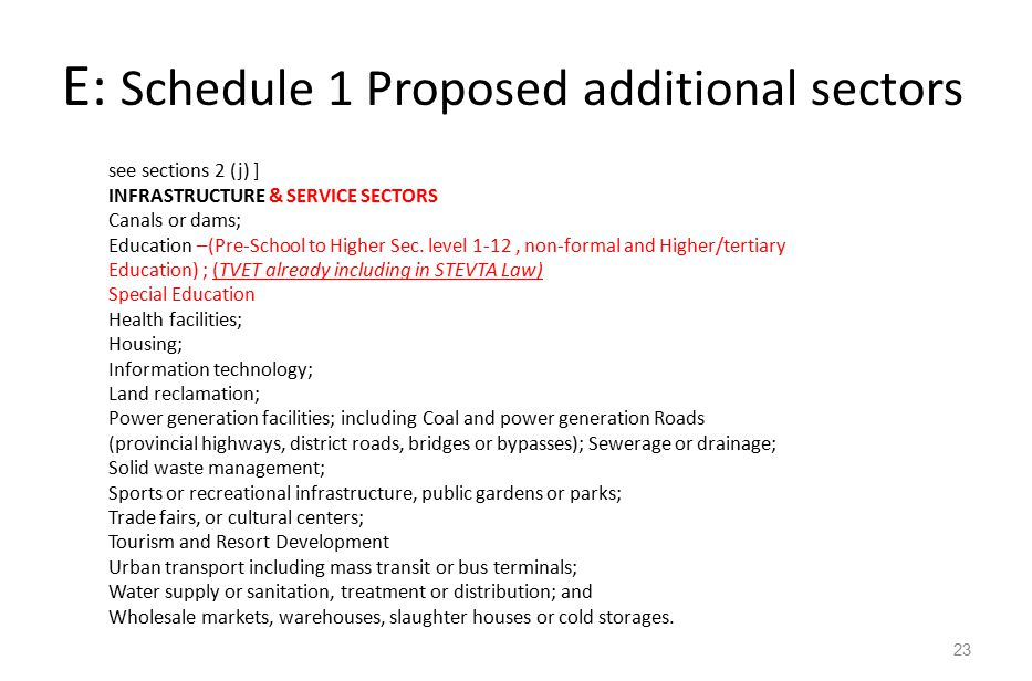 E : Schedule 1 Proposed additional sectors 23 see sections 2 (j) ] INFRASTRUCTURE & SERVICE SECTORS Canals or dams; Education –(Pre-School to Higher Sec.
