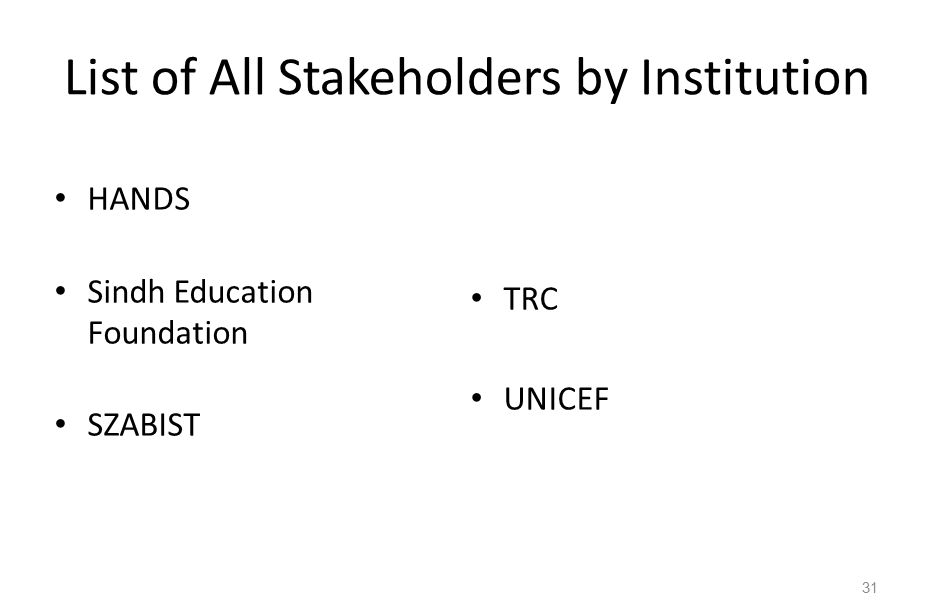List of All Stakeholders by Institution HANDS Sindh Education Foundation SZABIST TRC UNICEF 31