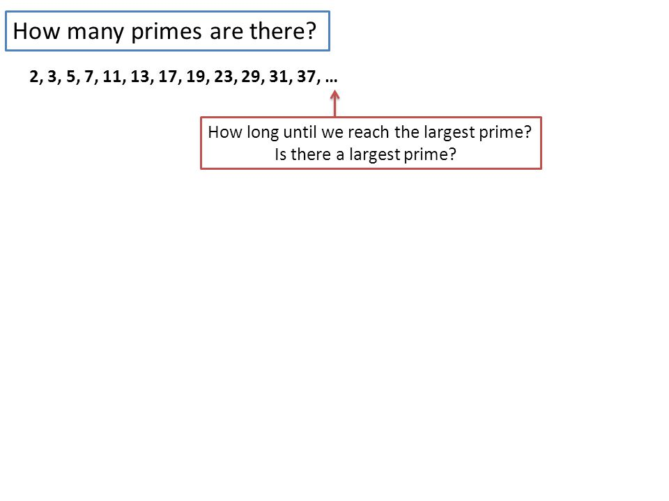 2, 3, 5, 7, 11, 13, 17, 19, 23, 29, 31, 37, … How long until we reach the largest prime.