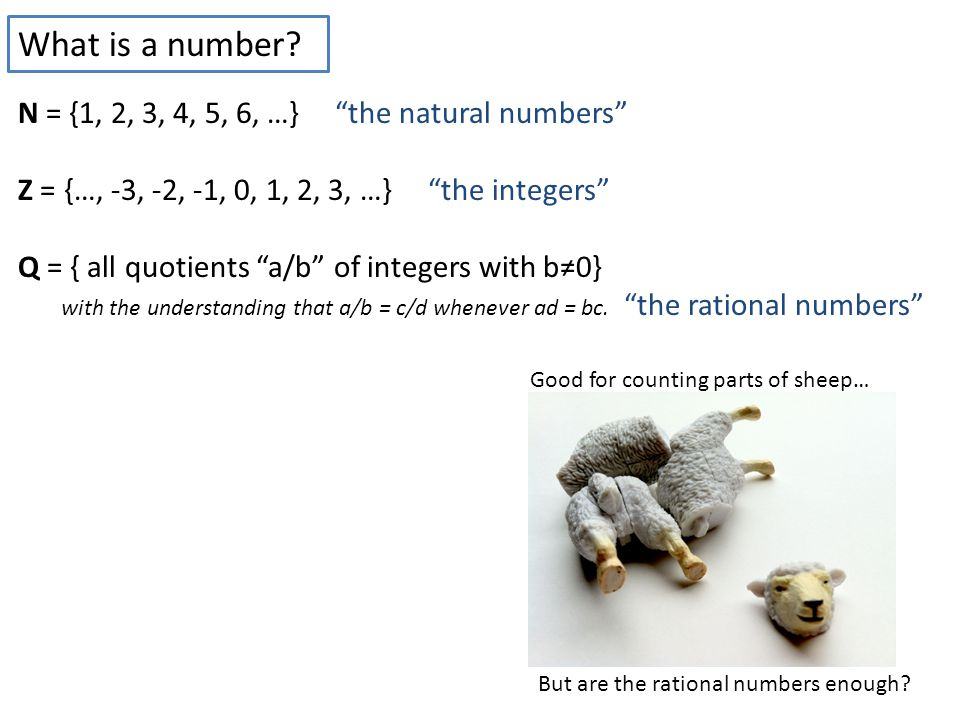 N = {1, 2, 3, 4, 5, 6, …} the natural numbers Z = {…, -3, -2, -1, 0, 1, 2, 3, …} the integers Q = { all quotients a/b of integers with b≠0} with the understanding that a/b = c/d whenever ad = bc.