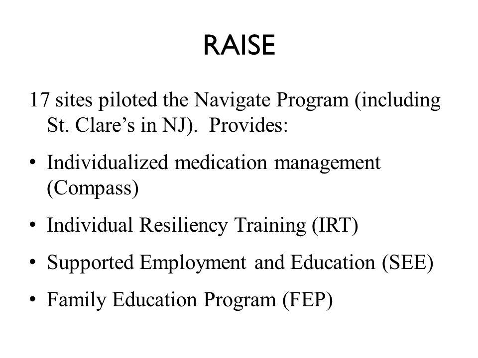 RAISE 17 sites piloted the Navigate Program (including St.