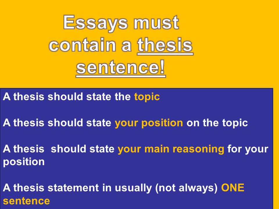 A thesis should state the topic A thesis should state your position on the topic A thesis should state your main reasoning for your position A thesis