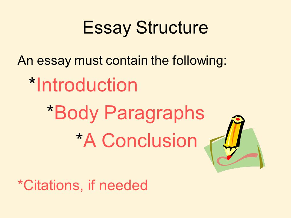 Essay Structure An essay must contain the following: *Introduction *Body Paragraphs *A Conclusion *Citations, if needed