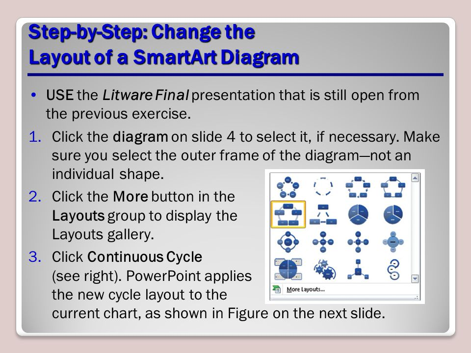 Step-by-Step: Change the Layout of a SmartArt Diagram USE the Litware Final presentation that is still open from the previous exercise. 1.Click the di