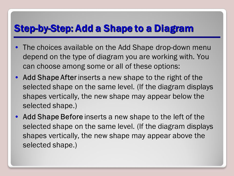 Step-by-Step: Add a Shape to a Diagram The choices available on the Add Shape drop-down menu depend on the type of diagram you are working with. You c