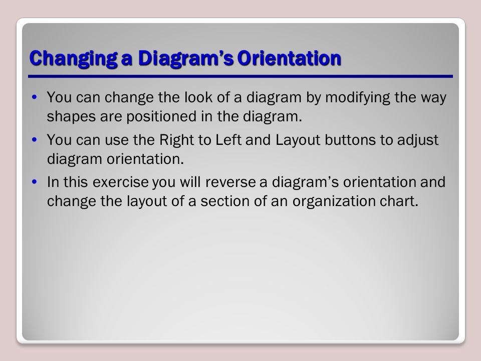 Changing a Diagram's Orientation You can change the look of a diagram by modifying the way shapes are positioned in the diagram. You can use the Right