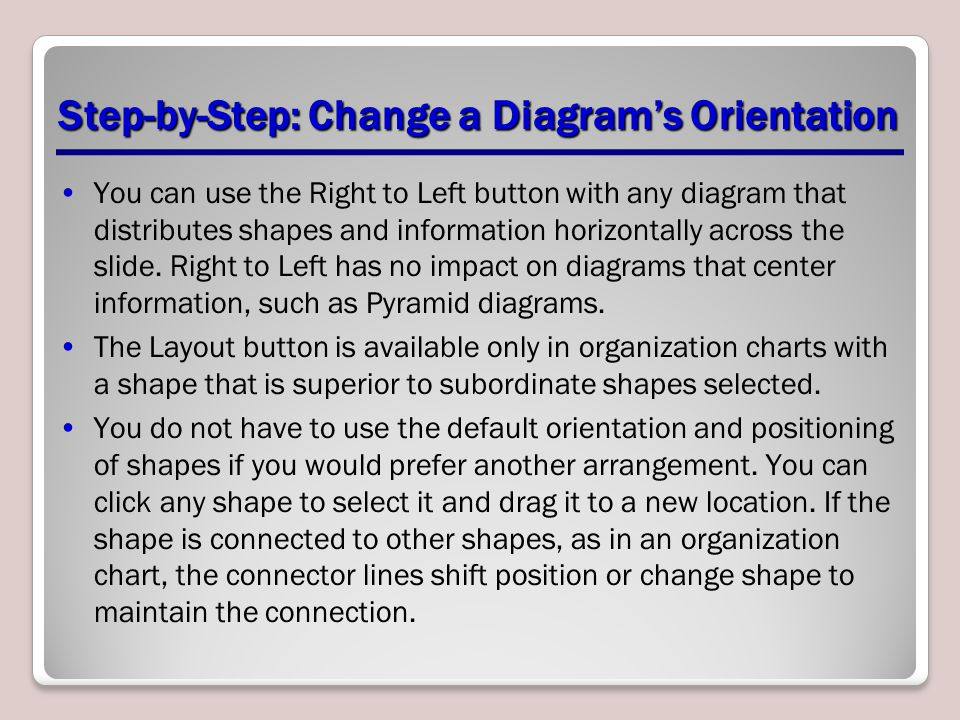 Step-by-Step: Change a Diagram's Orientation You can use the Right to Left button with any diagram that distributes shapes and information horizontall