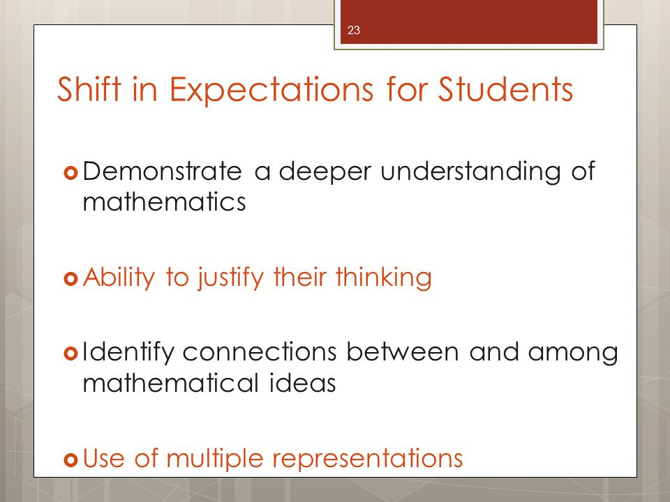 Shift in Expectations for Students  Demonstrate a deeper understanding of mathematics  Ability to justify their thinking  Identify connections between and among mathematical ideas  Use of multiple representations 23