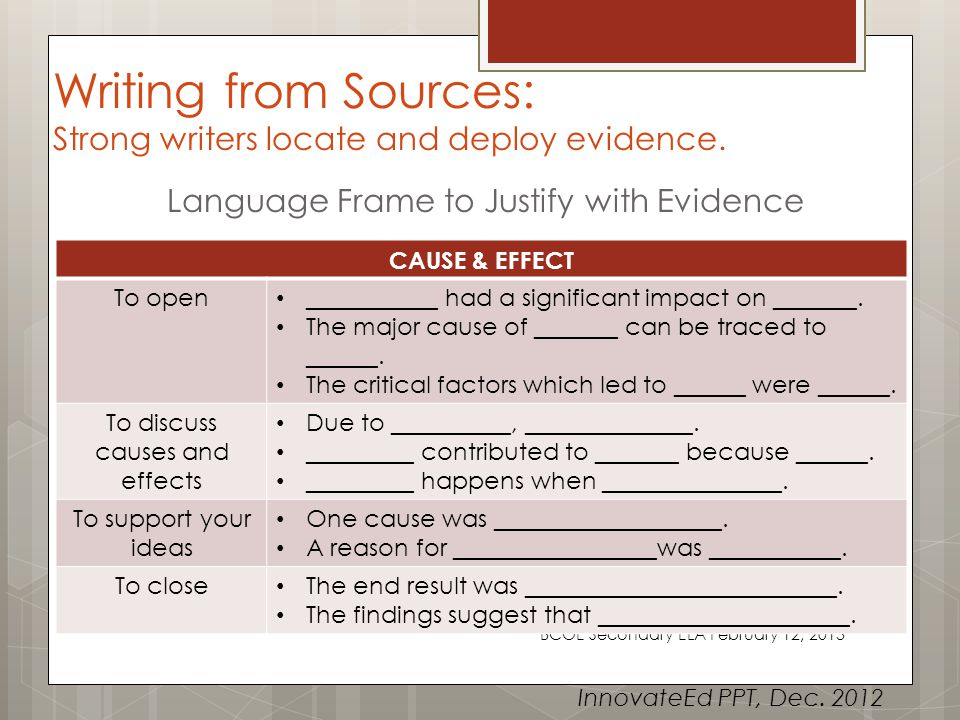 Writing from Sources: Strong writers locate and deploy evidence.