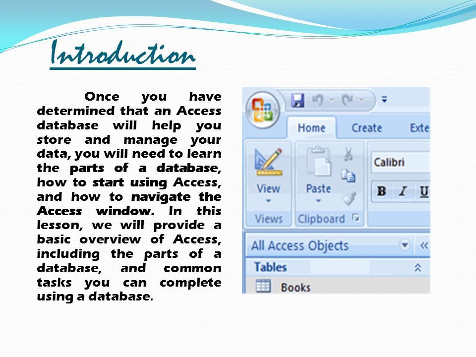 Introduction Once you have determined that an Access database will help you store and manage your data, you will need to learn the parts of a database
