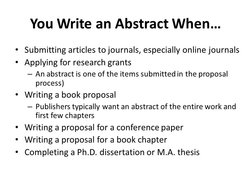 Qualities of a Good Abstract Uses one or more well-developed paragraphs, which are unified, coherent, concise Follows the chronology of the document Summarizes the contents of the document Introduces no new information Is intelligible to a wide audience