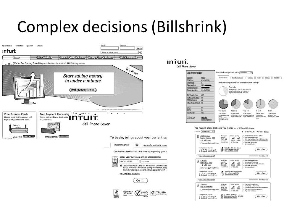 Complex decisions (Billshrink)