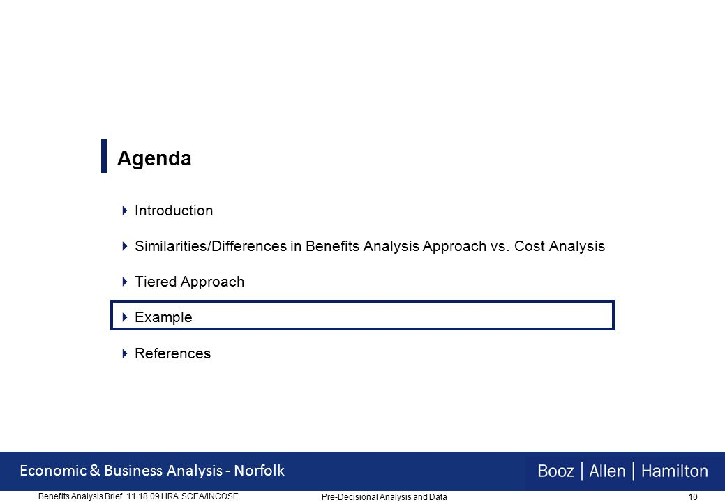 10 Economic & Business Analysis - Norfolk Benefits Analysis Brief 11.18.09 HRA SCEA/INCOSE Agenda  Introduction  Similarities/Differences in Benefits Analysis Approach vs.