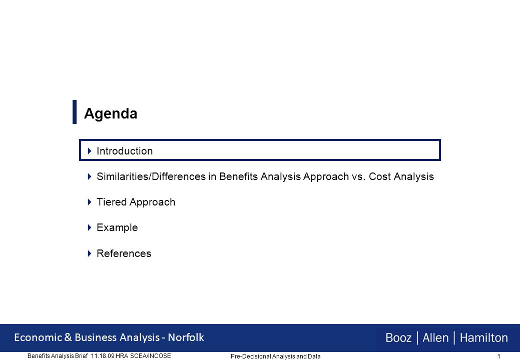 1 Economic & Business Analysis - Norfolk Benefits Analysis Brief 11.18.09 HRA SCEA/INCOSE Agenda  Introduction  Similarities/Differences in Benefits Analysis Approach vs.