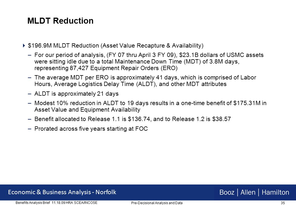 35 Economic & Business Analysis - Norfolk Benefits Analysis Brief 11.18.09 HRA SCEA/INCOSE MLDT Reduction  $196.9M MLDT Reduction (Asset Value Recapture & Availability) –For our period of analysis, (FY 07 thru April 3 FY 09), $23.1B dollars of USMC assets were sitting idle due to a total Maintenance Down Time (MDT) of 3.8M days, representing 87,427 Equipment Repair Orders (ERO) –The average MDT per ERO is approximately 41 days, which is comprised of Labor Hours, Average Logistics Delay Time (ALDT), and other MDT attributes –ALDT is approximately 21 days –Modest 10% reduction in ALDT to 19 days results in a one-time benefit of $175.31M in Asset Value and Equipment Availability –Benefit allocated to Release 1.1 is $136.74, and to Release 1.2 is $38.57 –Prorated across five years starting at FOC Pre-Decisional Analysis and Data