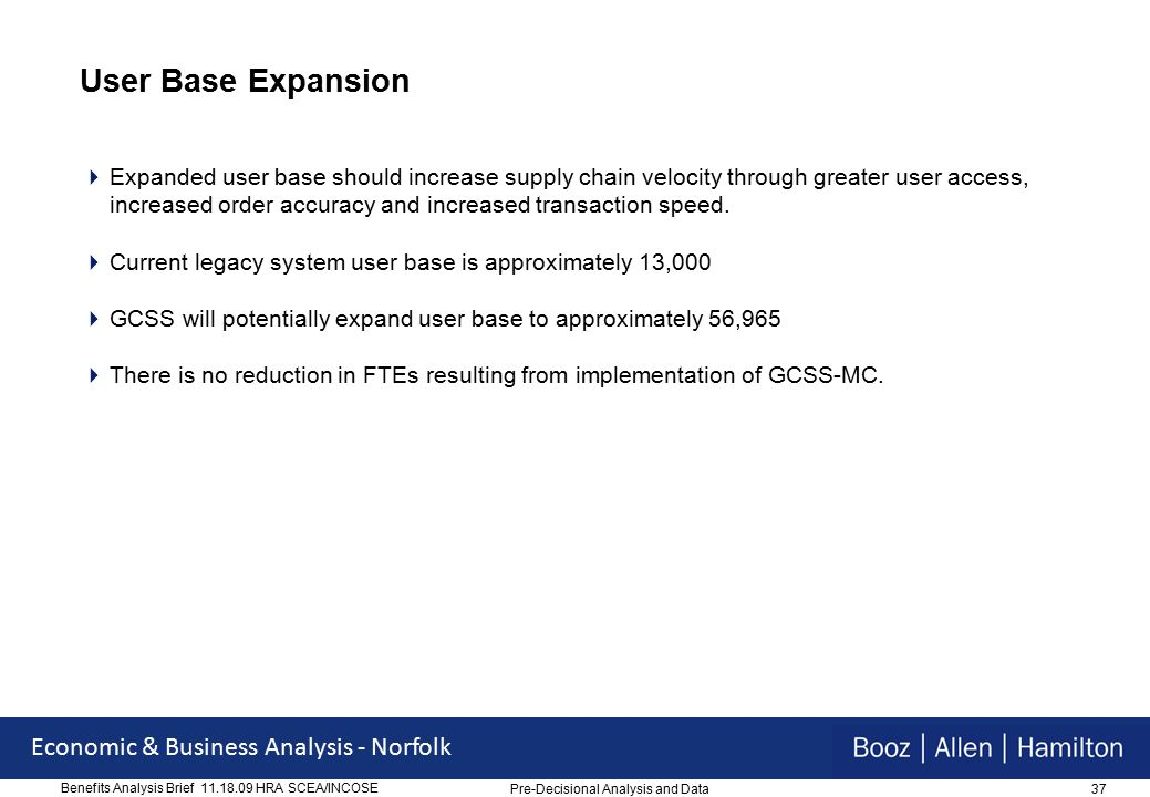 37 Economic & Business Analysis - Norfolk Benefits Analysis Brief 11.18.09 HRA SCEA/INCOSE User Base Expansion  Expanded user base should increase supply chain velocity through greater user access, increased order accuracy and increased transaction speed.