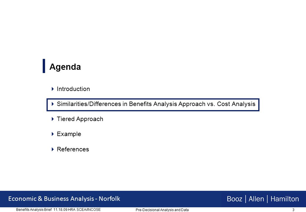 3 Economic & Business Analysis - Norfolk Benefits Analysis Brief 11.18.09 HRA SCEA/INCOSE Agenda  Introduction  Similarities/Differences in Benefits Analysis Approach vs.