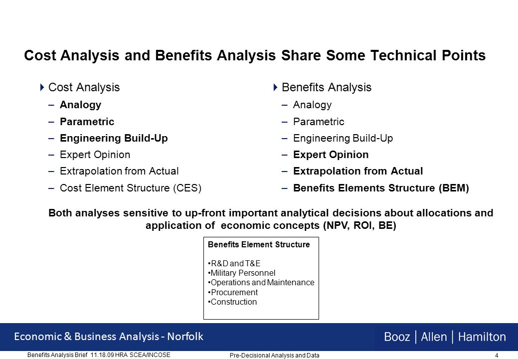 4 Economic & Business Analysis - Norfolk Benefits Analysis Brief 11.18.09 HRA SCEA/INCOSE Cost Analysis and Benefits Analysis Share Some Technical Points  Cost Analysis –Analogy –Parametric –Engineering Build-Up –Expert Opinion –Extrapolation from Actual –Cost Element Structure (CES)  Benefits Analysis –Analogy –Parametric –Engineering Build-Up –Expert Opinion –Extrapolation from Actual –Benefits Elements Structure (BEM) Both analyses sensitive to up-front important analytical decisions about allocations and application of economic concepts (NPV, ROI, BE) Benefits Element Structure R&D and T&E Military Personnel Operations and Maintenance Procurement Construction Pre-Decisional Analysis and Data