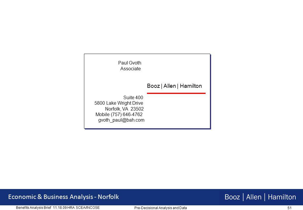 51 Economic & Business Analysis - Norfolk Benefits Analysis Brief 11.18.09 HRA SCEA/INCOSE Paul Gvoth Associate Booz   Allen   Hamilton Suite 400 5800